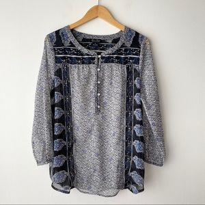 LUCKY BRAND Sheer Blue & Gray Floral Print Tunic M